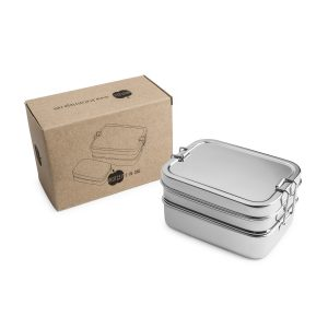 Brotzeit 3in1 Edelstahllunchbox vor Schachtel