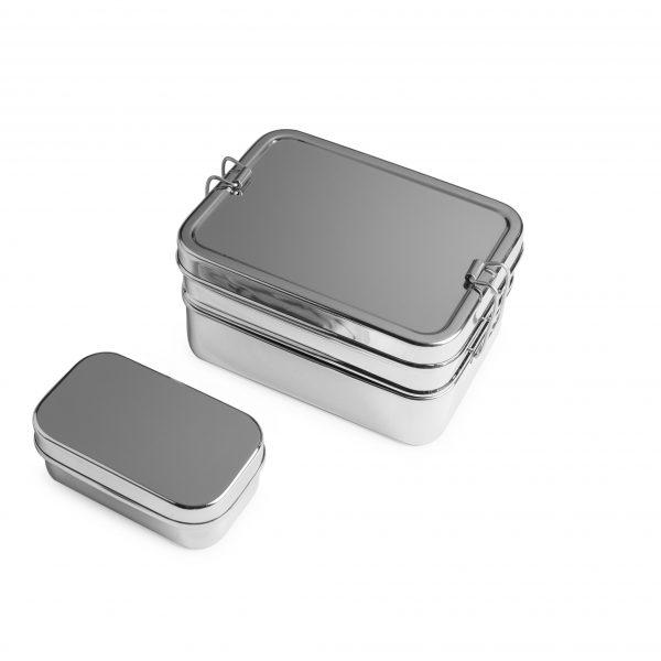 Brotzeit 3in1 Lunchbox Edelstahl kleine Dose draußen